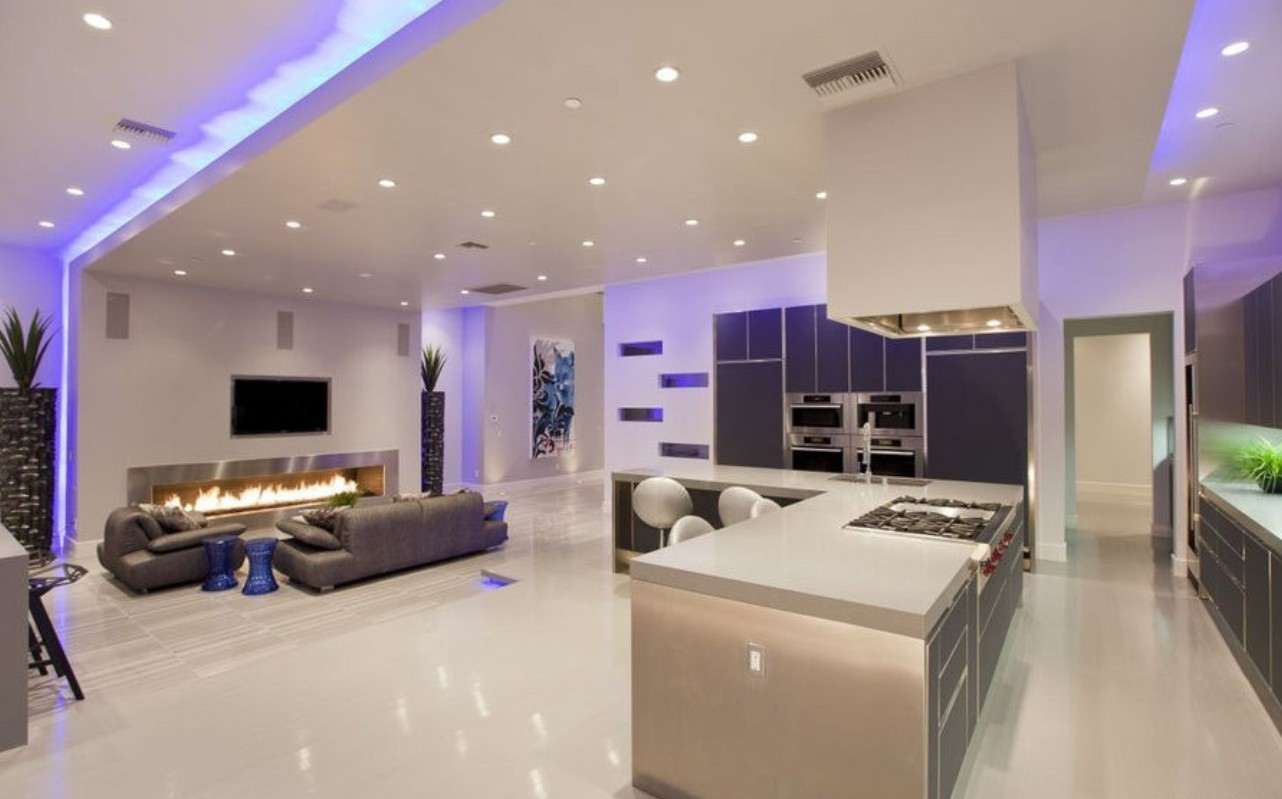 purple lighting for kitchen and living room